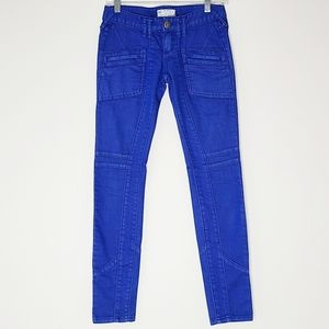 Free People Electric Blue Moto Skinny Jeans 25